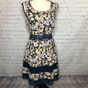 LC Lauren Conrad boho blue/floral dress crochet
